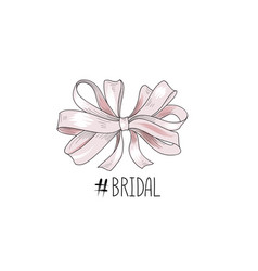 Bow wed sign gentle cream bow isolated bride team vector