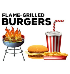 Burgers on grill and hamburger set with drink vector image