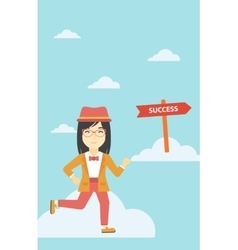 Business woman moving to success vector