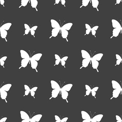 butterfly icon sign Seamless pattern on a gray vector image vector image