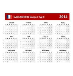 Calendar 2014 French Type 9 vector image