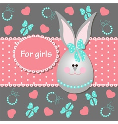 Card for baby girl with bunny vector image