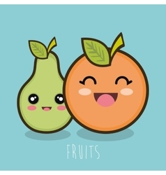 cartoon fruit pear and orange design vector image