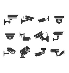 Cctv icons security camera guard equipment video vector
