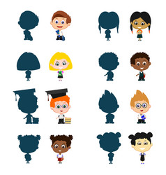 children with silhouettes vector image