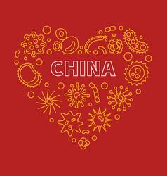 china viruses or coronavirus heart outline vector image
