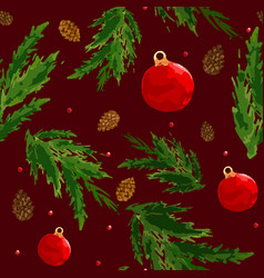 Christmas pattern with berry ball bump vector