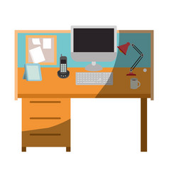 Colorful graphic of workplace office interior vector