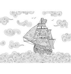 Contour image sailing ship on wave in vector