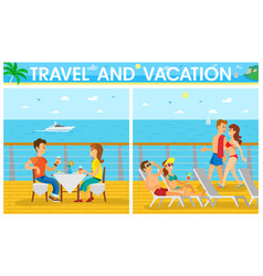 couples relaxing on cruise ship travel vector image