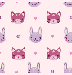 Cute kids seamless pattern with bunnies and vector