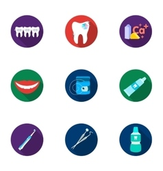 Dental care set icons in flat style Big vector image