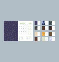 Desk calendar template for 2020 year week starts vector
