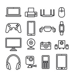 devices and gadgets icons vector image