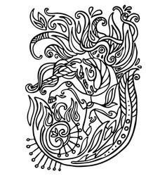 Doodle contour unicorn vector