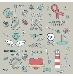 Doodle Marine Hand Drawn Objects Set vector