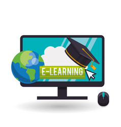 e-learning design education icon isolated vector image