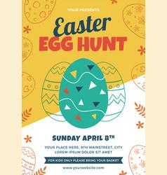 easter egg hunt flyer design vector image