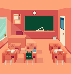 empty classroom interior with blackboard and desks vector image