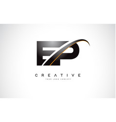 ep e p swoosh letter logo design with modern vector image