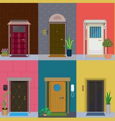 flat elegant colorful doors set vector image