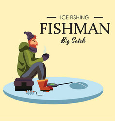 Flat fisherman hat sits on bag with spin fishing vector