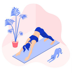 Girl doing downward facing dog pose at home vector