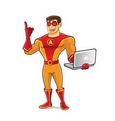 Handsome superhero notebook vector