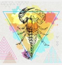 hipster realistic and polygonal scorpion vector image