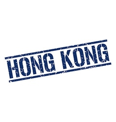 Hong Kong blue square stamp vector