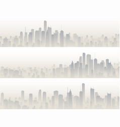 horizontal banners of big city in haze vector image