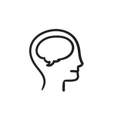 Human head with brain sketch icon vector