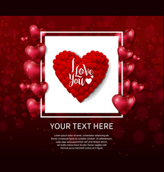 I love you design with heart balloon red heart in vector
