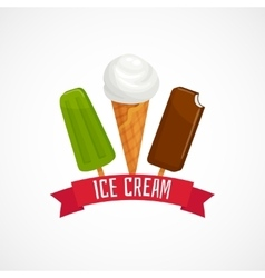 Icecream concept with ribbon isolated on white vector image