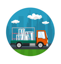 Icon of small truck transports windows vector
