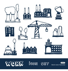 Industrial buildings icons set vector image
