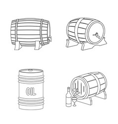 isolated object of barrel and beer sign set of vector image