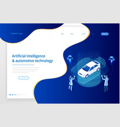 isometric cybernetic robots and people works with vector image