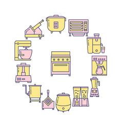 kitchen equipment round concept banner in line vector image