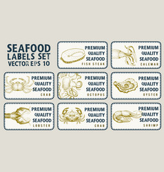 Labels with seafood set templates price tags for vector