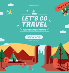 Lets go travel social media post vector