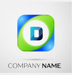 Letter d logo symbol in the colorful square vector