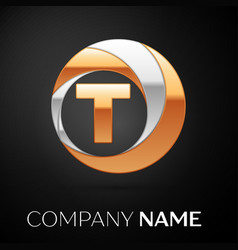 Letter t logo symbol in the golden-silver circle vector