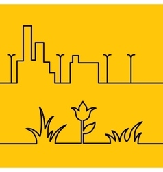 Line city scene and yellow floral background vector