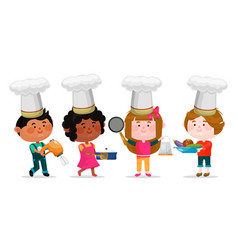little chefs in hats set boys and girls cartoon vector image