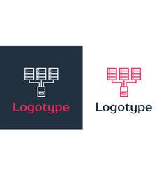 Logotype line server data web hosting icon vector