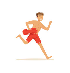 Male lifeguard in red shorts running with life vector