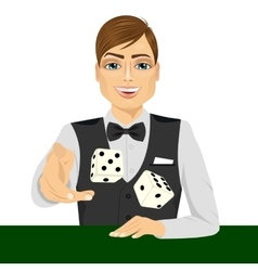 Man throwing dice gambling playing craps vector