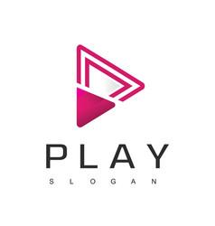 Media player logo design template vector