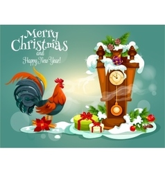 merry christmas and red rooster new year greeting vector image